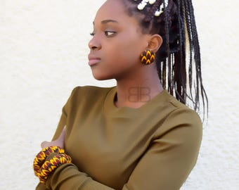 Set of african fabric earrings & bangles,boucles d'oreilles puces, bracelets en tissu wax, fabric bangles, african earrings, gift for her