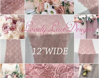"""Dusty Rose Lace Table Runner/3ft-10ft long x 12""""wide/Lace Overlay/ Weddinds /wedding decor/wedding centerpiece/table decor/vintage"""