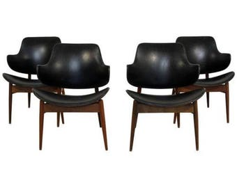 Mid Century Modern Kodawood Set 4 Lounge Dining Chairs Seymour J. Wiener 1960s