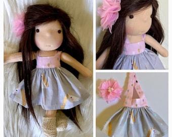 "Teeny waldorf dress and hair clip 8-10"""