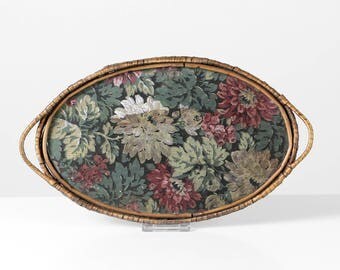 Vintage tapestry tray, wooden tray, gobelin glass tray, embroidered tray, tapestry decor