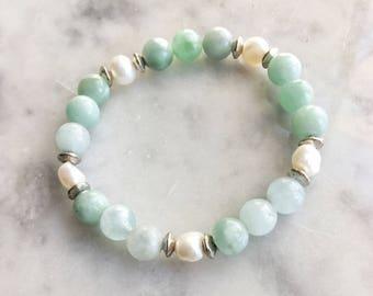 Amazonite / Freshwater Pearl / Silver Stretch Bracelet