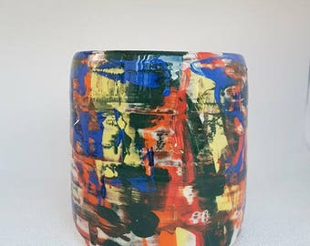 Multicoloured Pollock inspired Abstract Handthrown Pot