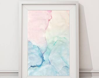 Pastel Abstract Watercolor Painting // Pink Blue Green Teal Nursery Art // Pretty Abstract Artwork,  Pink Watercolor Painting, Boho Nursery