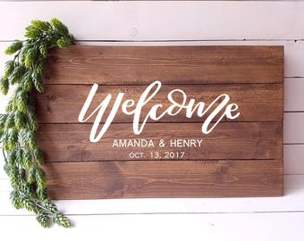 Wedding Welcome Sign Custom Hand Lettered Welcome Sign Personalized Wedding Sign Rustic Wedding Garden Wedding Wood Welcome Sign