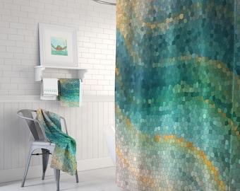 teal green shower curtain. Ocean Mosaic Shower Curtain Set  Distant Shores wave teal green shower curtain set Green Etsy