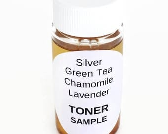 SAMPLE - Colloidal Silver Toner Green Tea & Chamomile with Hydrolyzed Wheat Protein, B5, 30ppm - All Skin Types including Acne/Rosacea