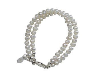 Sterling Silver Double-Strand White Freshwater Pearl Bracelet Comes in  Gift Box for Girls (Elizabeth)
