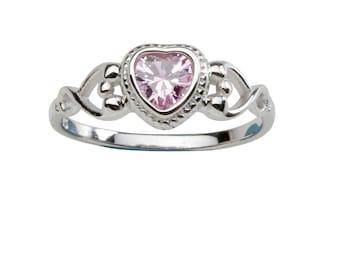 Sterling Silver Birthstone CZ Heart Rings for Girls  (BR-43)