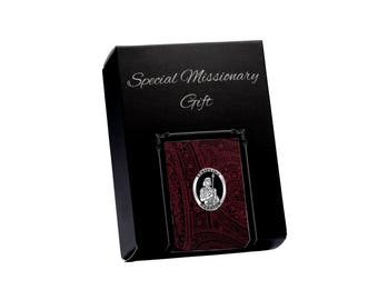 LDS Missionary Gift with Burgundy Paisley Tie and Stripling Warrior Tie Pin Gift Set in Gift Box (MTP-Burgundy)