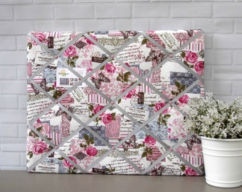 Unique Mothers Day Gift | Memo Board | Noticeboard | Memory Board | Bulletin Board | Pink | Blue | Grey | Floral Print | 40 x 50cm
