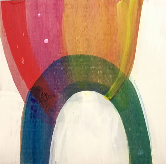 """Catch the Rainbow, 12"""" x 12"""" encaustic painting"""