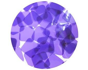 Square Vinyl Shape Top Hole 30mm Purple Go Go Transparent