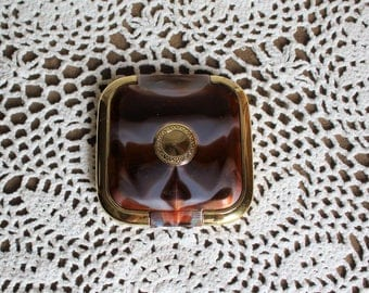 Vintage. Mirror. Compact. Plastic/gold/brown/ marble style. 1980s/ Purse/Compact.