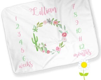 Personalized Monthly Cactus Wreath Baby Blanket - Girl Growth Chart - Week & Month Milestones - Cactus Photo Prop - Watch Me Grow Blanket