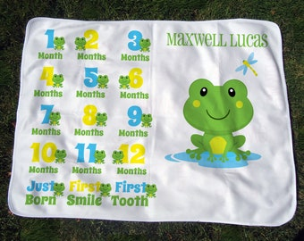 Frog Monthly Baby Blanket - Personalized Frog Growth Chart - Baby Month Blanket w/ Milestones - Newborn Boy Photo Prop - Baby Shower Gift