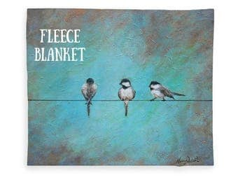 Fleece bird blanket, art sherpa mermaid throw, soft chickadees blanket, Original art by Nancy Quiaoit at Nancys Fine Art.