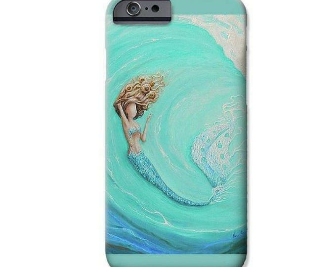 Mermaid cell phone case for iPhone 6, 7, 8, X and Plus, Teal phone cover, Mermaid art by Nancy Quiaoit