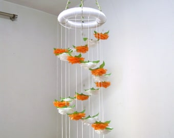 Flower Mobile Nursery,Baby Mobile,Girl,Boy,Hanging Crib Mobile,Baby Shower decor,Wedding Chandelier,Birthday Gift,Spiral,Floral,Rose,Orange
