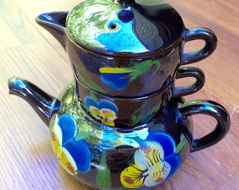Sale Teapot Service for One  Lusterware 1950s Dark Chocolate with Hand Painted Blue Pansies Excellent Vintage Condition