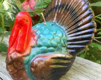 """ON SALE Turkey Candle 1950s Colorfully Painted Never Used 4 1/2 """" vintage"""