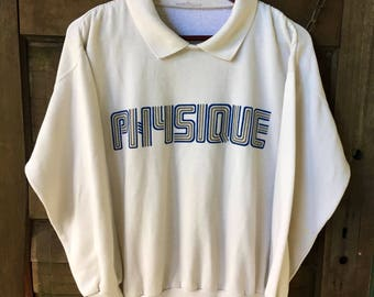 "Vintage 80's ""Physique"" Collared Off-White Sweatshirt/Jumper"