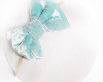 Aqua Crushed Velvet Bow