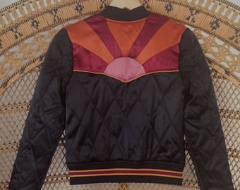 Rising Sun Bomber in Black Quilted 70s style satin Jacket lightweight ski as seen on @classicrockcouture 1970s sunburst red orange