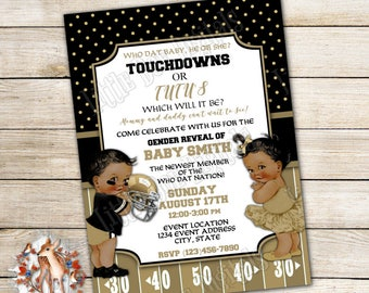 Personalized Touchdowns or Tutus Gender Reveal Party Invitations 5x7 or 4x6 - Digital File or Printed Copies Boy or Girl Black Gold Football