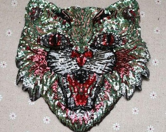 Fox head sequins patch embroidered patch applique