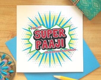 Raksha Bandhan Card for Paaji - Rakhi Greetings, Brother, Indian Occasion, Best Brother, Comic Style, Super Hero, Indian Celebration, Desi