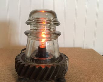 Vintage Glass Electrical Insulator Lamp
