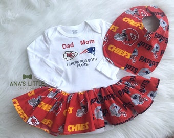 Custom House Divided Bodysuit Dress and Bib ( Patriots - Kansas City Chiefs ) I Cheer For Both Teams 2pc Set