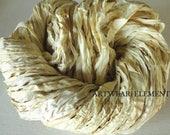 Pure Sari Silk, Vintage Cream, Per 1 & 5 Yards, Silk Ribbon, Fair Trade, Ribbon, Cream Sari Ribbon, Textile Supplies, ArtWear Elements 14c