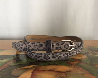 Leopard Skinny Belt Gray Leather Vintage Distressed Women's Medium