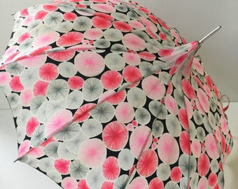 Vintage Pagoda Umbrella 1960s Mod Pink Gray Black