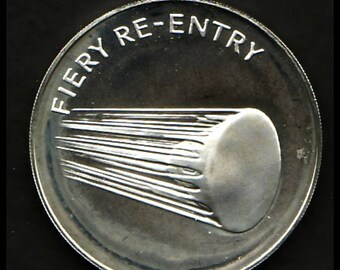 APOLLO 13 Space Flown to Moon Material Large Sterling Silver Coin - Apollo Fiery Re-Entry