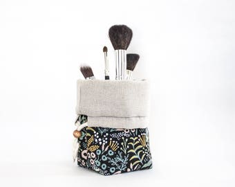Travel Makeup Brush Holder in Rifle Paper Co. Menagerie Canvas