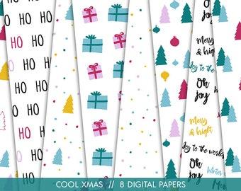 Modern Christmas Digital Paper // Christmas Seamless Pattern // Xmas digital paper // Christmas doodles // Pink Christmas // Commercial Use