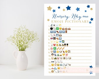 Nursery Rhyme Emoji Pictionary printable, Twinkle Star baby boy shower game, baby book downloadable, navy blue gold INSTANT DOWNLOAD 006