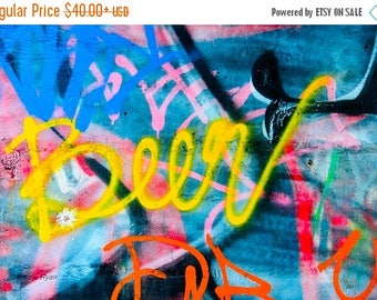 ON SALE Philly, Street Life, Beer, Graffiti Art, Philadelphia Photo, Colorful, Urban Industrial Decor Wall Art, Office Art, Black Yellow Blu