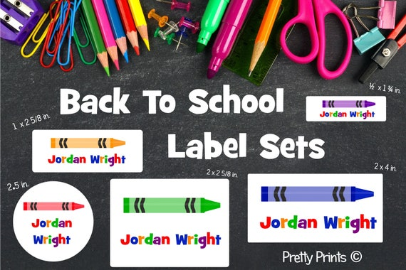 School Labels, Back to School Label Set, Personalized Stickers, Personalized Labels, School Supply Labels - Crayon Labels
