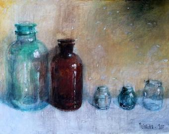 Bottles painting. Bottles Original Acrylic Painting. Original Acrylic Still Life Painting. Acrylic Bottles Wall Art. FREE SHIPPING!