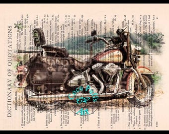 1988 FLSTC Yellow/Red HD Motorcycle Art - Vintage Dictionary Book Page Art Upcycled Page Art,Drawing Art Print