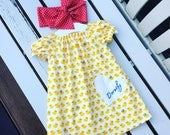 Can be personalised - BABY GIRL'S DRESS in 100% cotton cute baby ducks in yellow fabric ages 0-3 months 3-6 months 6-12 months