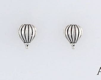Sterling Silver Hot Air Balloon, Charm, Post, Dangle Earrings or Necklace