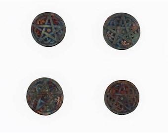 Multicolored Matte Raku Ceramic Pentagram Design Beads