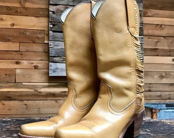 Vintage FRYE Fringe Western Boots Vtg Caramel Tan Leather Cowgirl Boots Made in USA Women's Size 9 Narrow