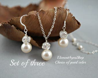 Bridesmaid Jewelry Set, 3 Swarovski White Ivory Pearl Necklace and Earring Sets, Bridesmaid Gift Set