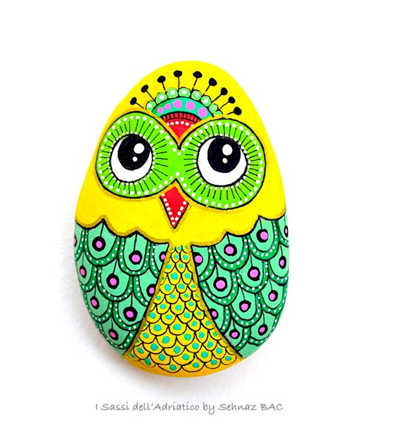 Hand Painted Stone Owl *Sassi dell'Adriatico (Adriatic Sea)